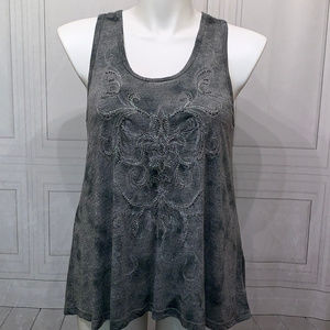 Miss Me Gray Silver Beaded Lace Tank Top M